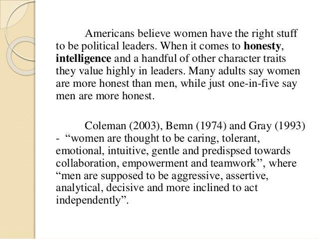 Male traits vs female traits