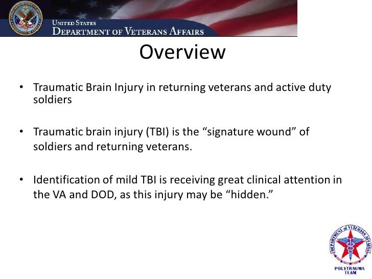 Overview • Traumatic Brain Injury in returning veterans and active duty   soldiers  • Traumatic brain injury (TBI) is the ...