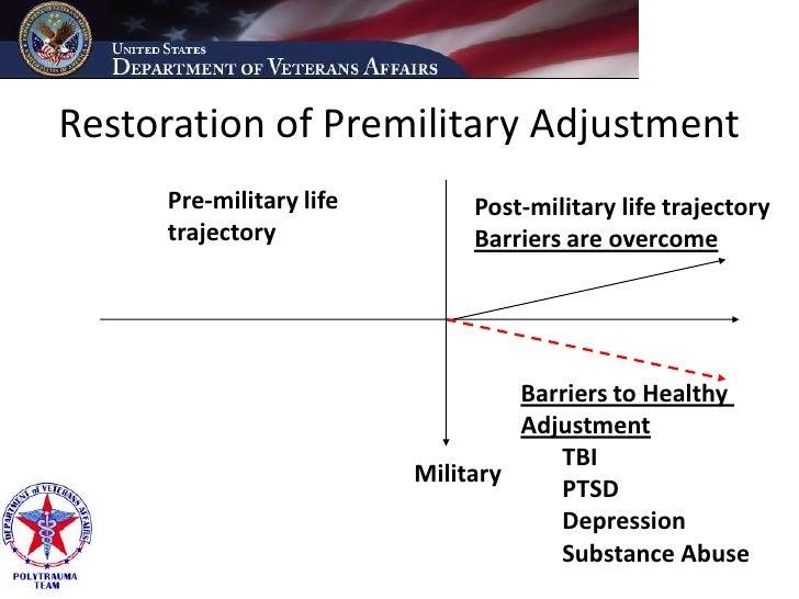 Restoration of Premilitary Adjustment      Pre-military life        Post-military life trajectory      trajectory         ...