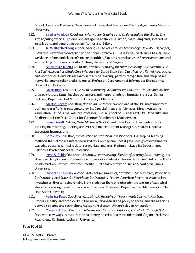 Women Who Wrote the [Analytics] Book Page 20 of 26 © 2015 Meta S. Brown http://www.metabrown.com School. Associate Profess...