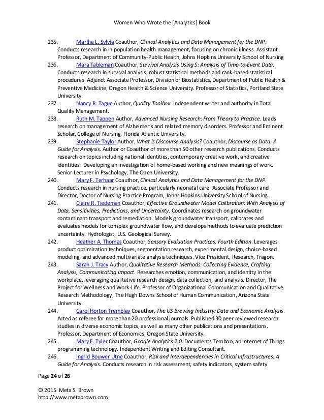 Women Who Wrote the [Analytics] Book Page 24 of 26 © 2015 Meta S. Brown http://www.metabrown.com 235. Martha L. Sylvia Coa...