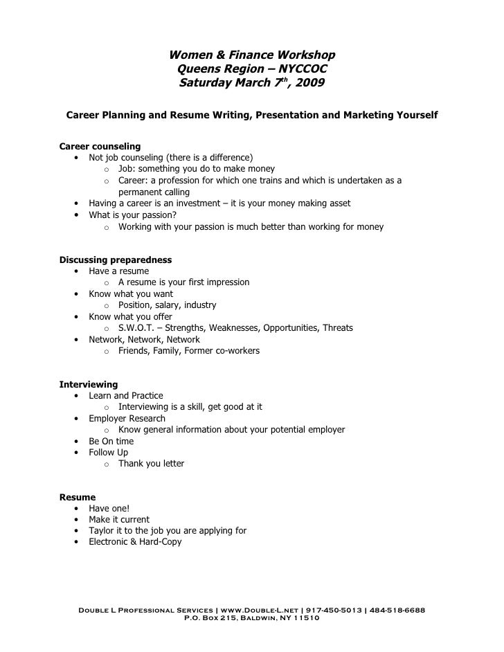 Captivating Women U0026 Finance Workshop Queens Region ... Ideas Outline For A Cover Letter