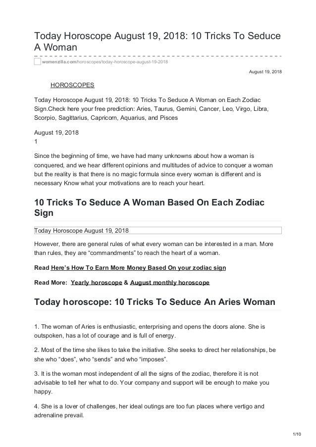 Womenzilla com today horoscope august 19 2018 10 tricks to