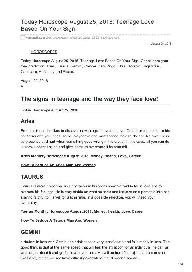 Womenzilla Com Today Horoscope August 25 2018 Teenage Love Based On Y