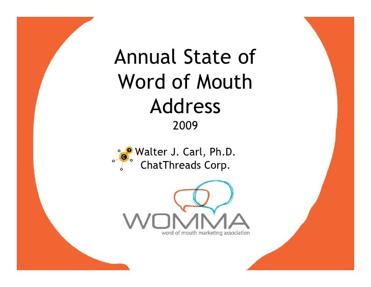 Annual State of Word of Mouth    Address          2009    Walter J. Carl, Ph.D.    ChatThreads Corp.