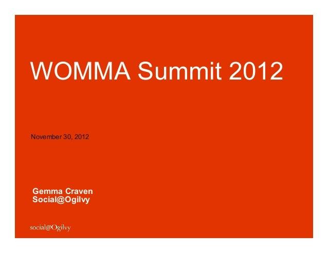 WOMMA Summit 2012November 30, 2012Gemma CravenSocial@Ogilvy