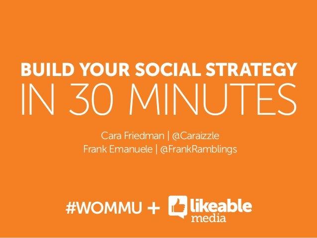 BUILD YOUR SOCIAL STRATEGYIN 30 MINUTESCara Friedman   @CaraizzleFrank Emanuele   @FrankRamblings#WOMMUmedia+