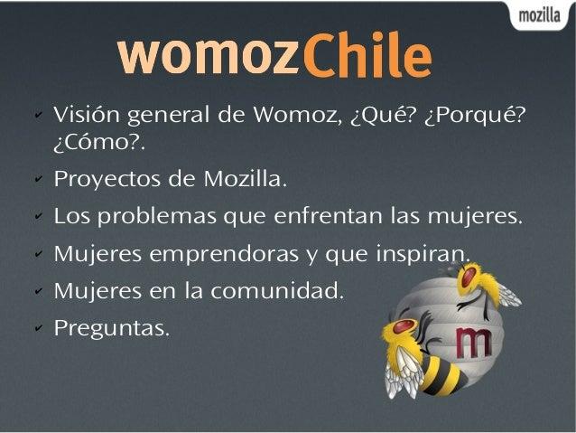 ✔ Visión general de Womoz, ¿Qué? ¿Porqué? ¿Cómo?. ✔ Proyectos de Mozilla. ✔ Los problemas que enfrentan las mujeres. ✔ Muj...