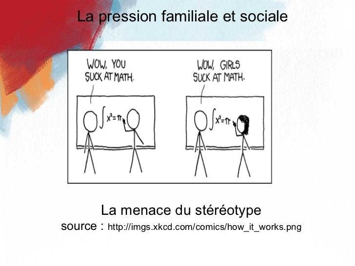 La menace du stéréotype source :   http://imgs.xkcd.com/comics/how_it_works.png La pression familiale et sociale