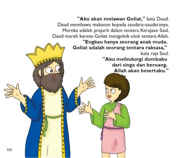 Raja Saul memberikan baju perangnya kepada Daud,  tetapi itu terlalu besar  dan berat untuk dipakai. .  Daud berdiri di ha...