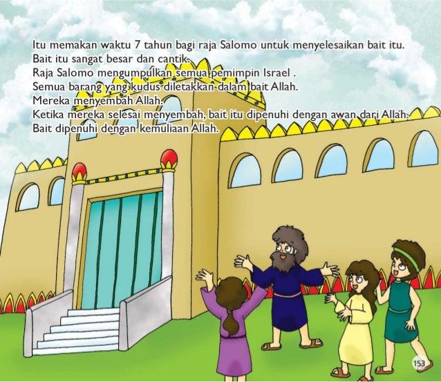 Raja Salomo mengumpulkan semua orang Israel .  Mereka memuji Allah dalam bait yang baru.  Raja Salomo berdoa kepada Allah ...