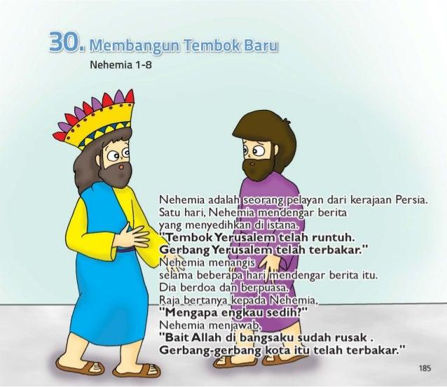 """Raja menyukai Nehemia.  Raja kuatir.  Dia bertanya kepada Nehemia,  """"Apa yang engkau mau kulakukan padamu? """" jawab Nehemia..."""