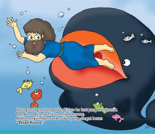 Ikan besar menelan Yunus.  V_ Yunus berada di dalam perut ikan i Ll selama 3 hari dan 3 malam.  Yunus berdoa kepada Allah ...
