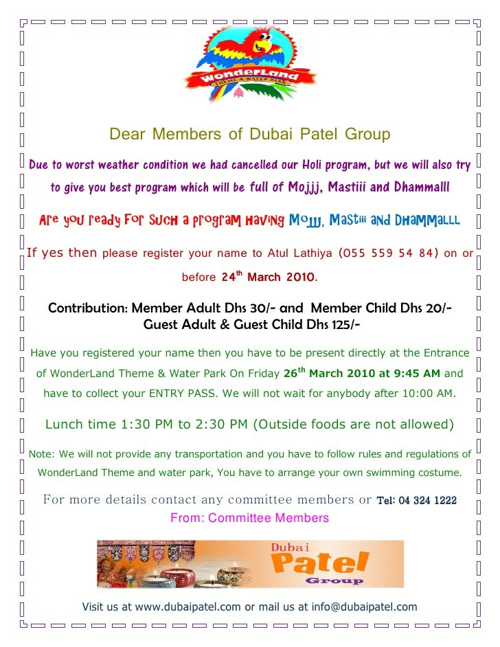 Dear Members of Dubai Patel Group Due to worst weather condition we had cancelled our Holi program, but we will also try  ...