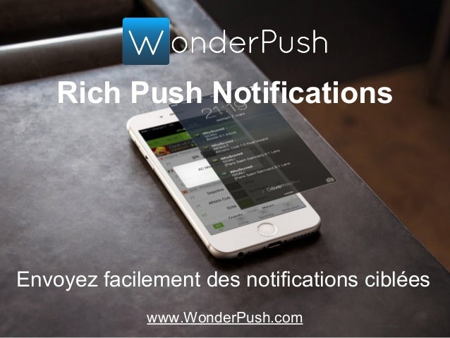 Rich Push Notifications Envoyez facilement des notifications ciblées www.WonderPush.com Photo by Placeit