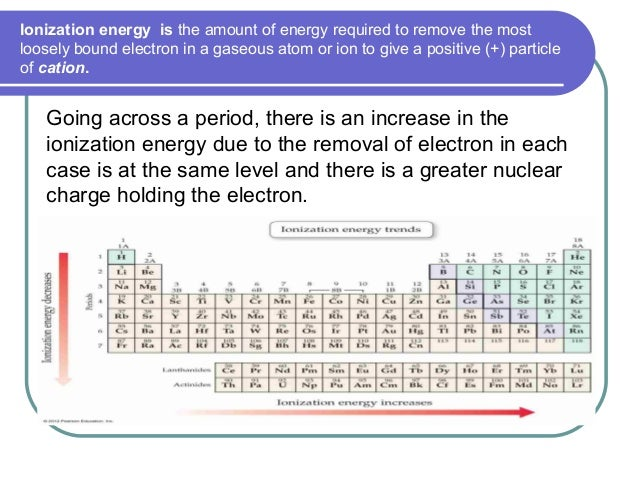 Ionization energy is the amount of energy required to remove the most loosely bound electron in a gaseous atom or ion to g...