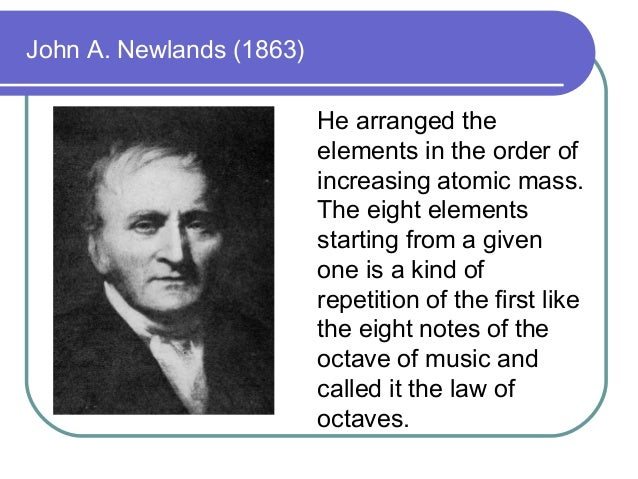 John A. Newlands (1863) He arranged the elements in the order of increasing atomic mass. The eight elements starting from ...