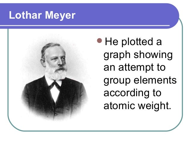Lothar Meyer He plotted a graph showing an attempt to group elements according to atomic weight.