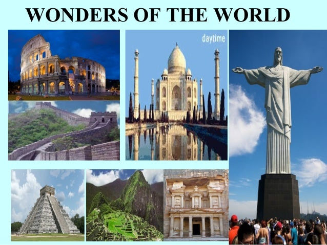 Seven wonders of the world photo with name