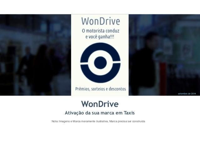 setembro de 2014  WonDrive  Ativação da sua marca em Taxis  Nota: Imagens e Marca meramente ilustrativa, Marca precisa ser...