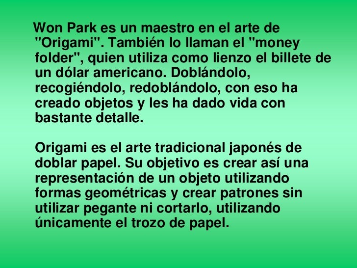 won park maestro del origami