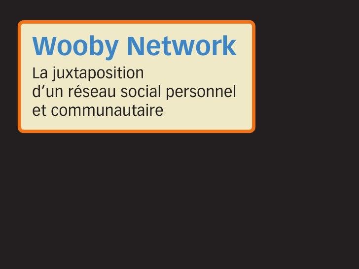 Wooby Network La juxtaposition d'un réseau social personnel et communautaire