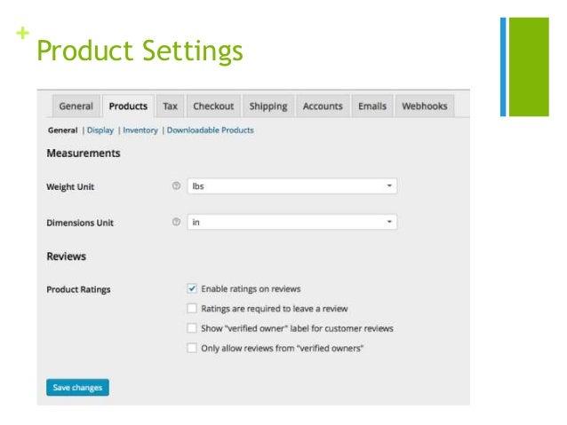 + Product Settings