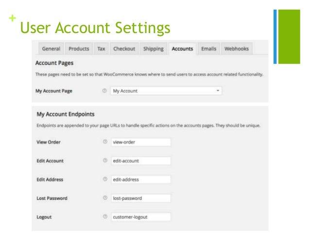 + User Account Settings