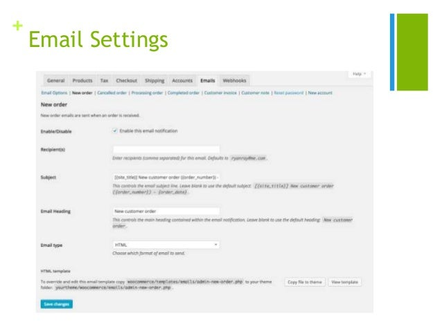 + Email Settings