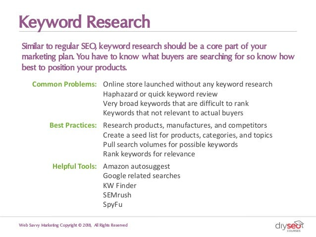 Keyword Research Similar to regular SEO, keyword research should be a core part of your marketing plan. You have to know w...