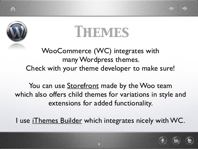 Themes WooCommerce (WC) integrates with many Wordpress themes. Check with your theme developer to make sure! You can use S...