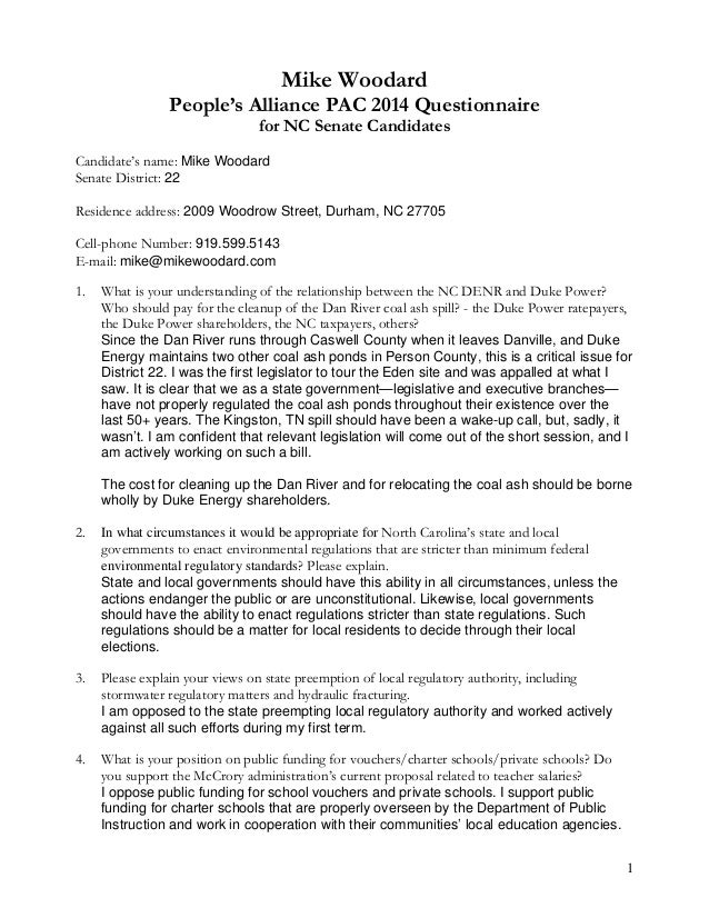 1 Mike Woodard People's Alliance PAC 2014 Questionnaire for NC Senate Candidates Candidate's name: Mike Woodard Senate Dis...