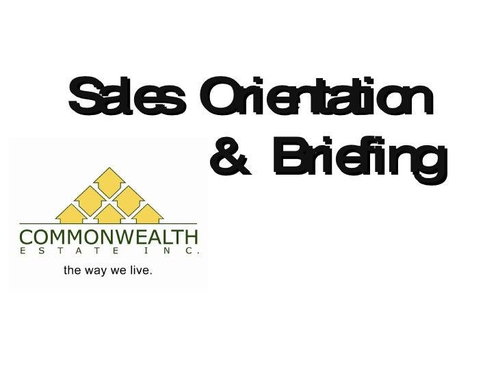 Sales  Orientation   &  Briefing