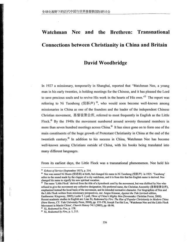 êâfáêfhiâläiçfâñäâfüiii'âiëñåëâkñâlffiiáâ  Watchman Nee and the Brethren:  Transnational  Connections between Christianity...