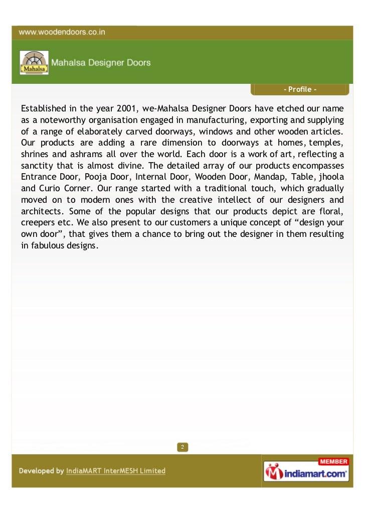 Mahalsa Designer Doors, Bengaluru, Wooden Products Slide 2