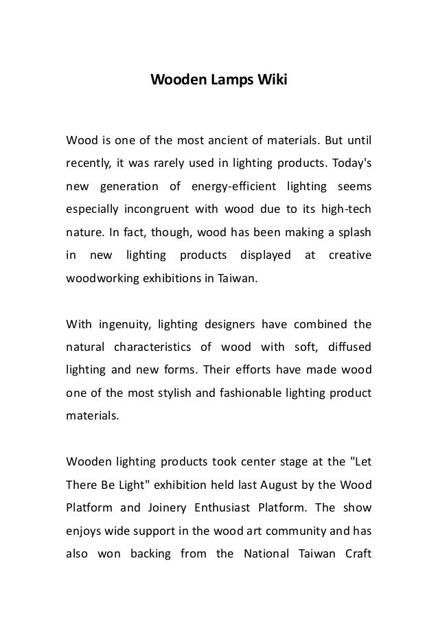 Wooden Lamps Wiki
