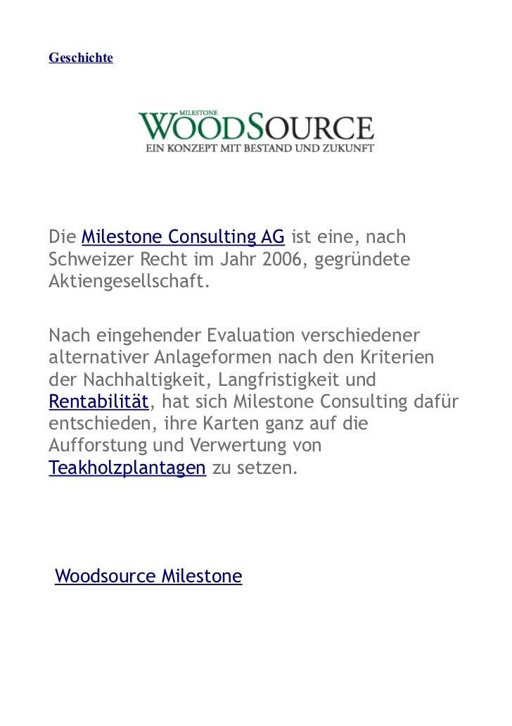 GeschichteDie Milestone Consulting AG ist eine, nachSchweizer Recht im Jahr 2006, gegründeteAktiengesellschaft.Nach eingeh...