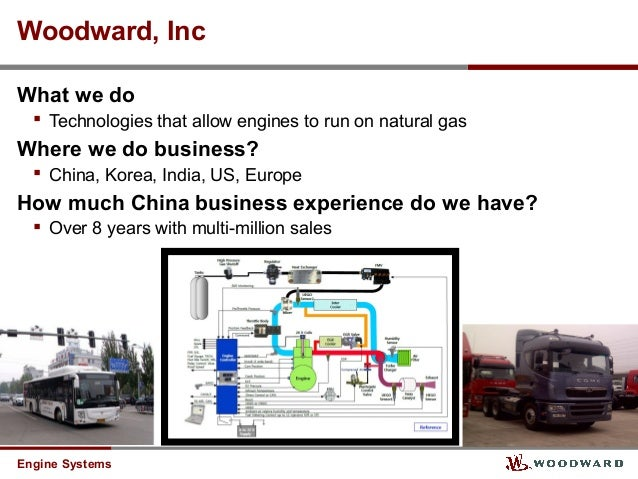 Engine Systems Woodward, Inc What we do  Technologies that allow engines to run on natural gas Where we do business?  Ch...