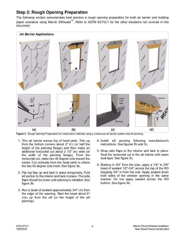 Marvin Wood Window Installation Instructions