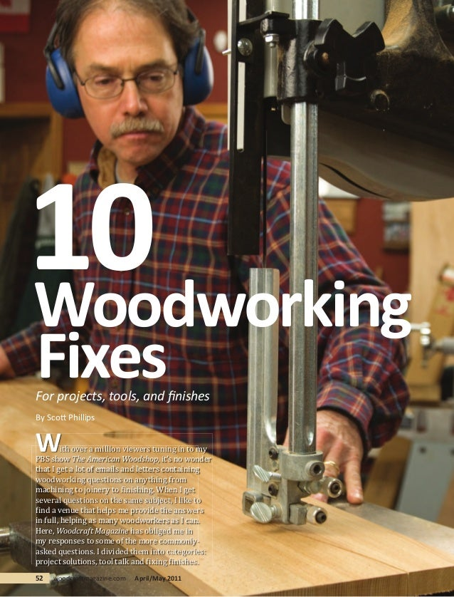 10WoodworkingFixesFor projects, tools, and finishesBy Scott PhillipsW        ith over a million viewers tuning in to myPBS ...