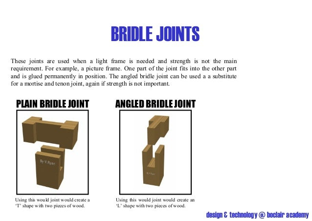 BRIDLE JOINTSThese joints are used when a light frame is needed and strength is not the mainrequirement. For example, a pi...