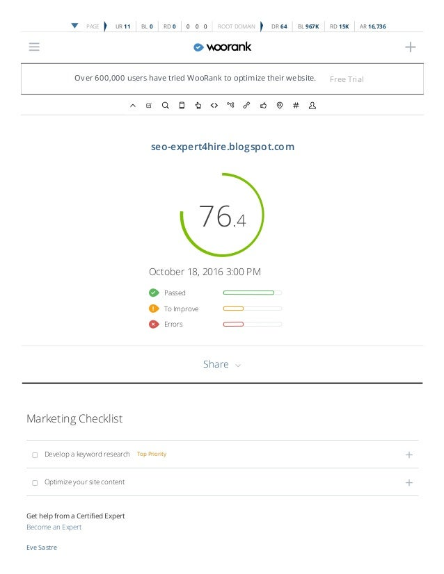 woorank website review for seo expert4hire blogspot com
