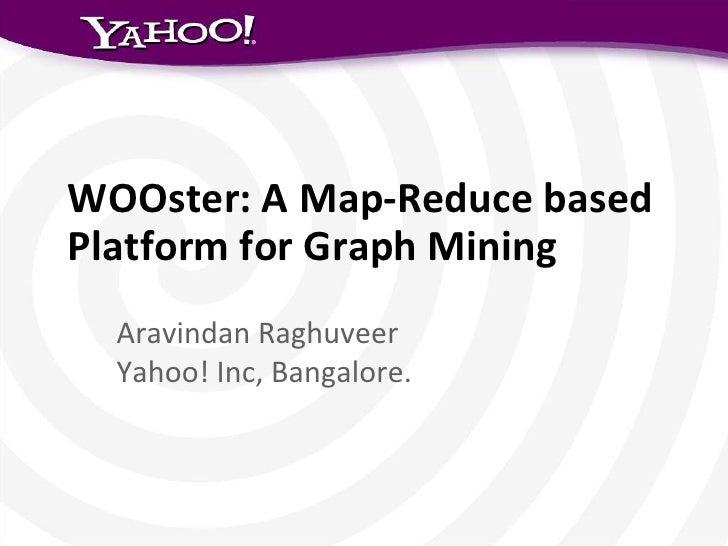 WOOster: A Map-Reduce basedPlatform for Graph Mining  Aravindan Raghuveer  Yahoo! Inc, Bangalore.