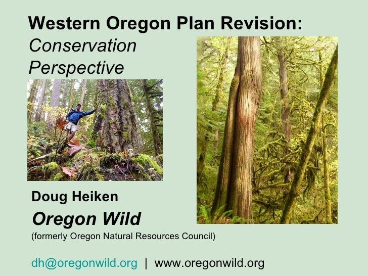 Western Oregon Plan Revision: Conservation  Perspective Doug Heiken Oregon Wild   (formerly Oregon Natural Resources Counc...