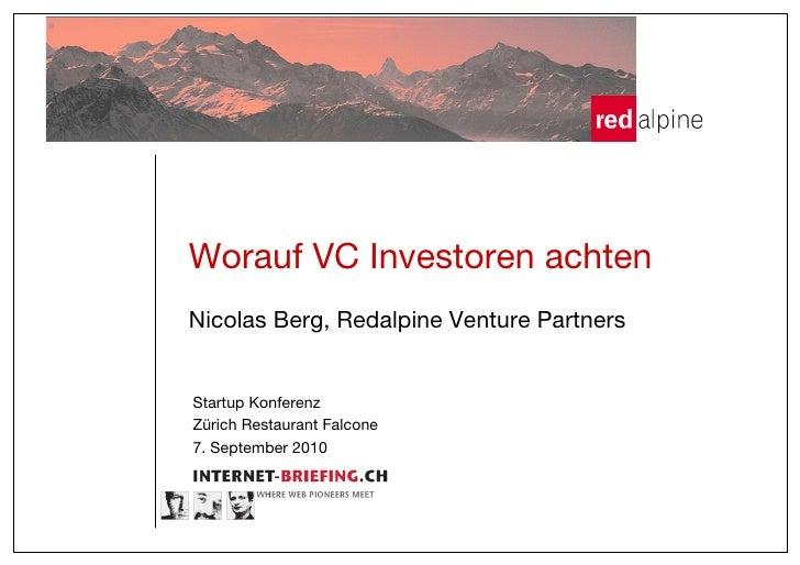 """Worauf VC Investoren achten! Nicolas Berg, Redalpine Venture Partners!   Startup Konferenz"""" Zürich Restaurant Falcone"""" 7. ..."""