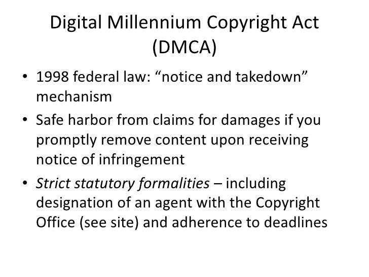 digital millennium copyright act Lmi has designated an agent (dmca agent) to receive and respond to proper written notifications from copyright owners who claim inappropriate use of copyrighted materials on our websites or through our services.