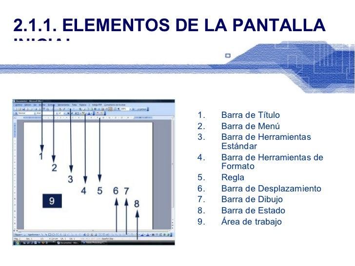 2.1.1. ELEMENTOS DE LA PANTALLA INICIAL <ul><li>Barra de Título </li></ul><ul><li>Barra de Menú </li></ul><ul><li>Barra de...