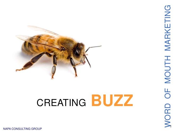 1<br />WORD  OF  MOUTH  MARKETING<br />CREATINGBUZZ<br />NAPA CONSULTING GROUP<br />