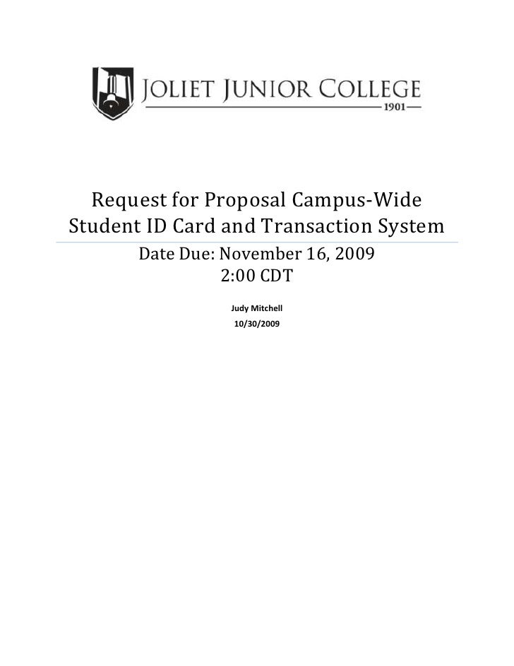 Request For Proposal Campus Wide Student ID Card And Transaction SystemDate Due November 16
