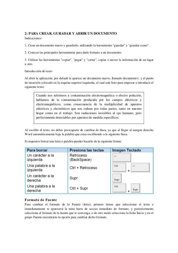 2: PARA CREAR, GURADAR Y ABRIR UN DOCUMENTOIndicaciones:1. Crear un documento nuevo y guardarlo. utilizando la herramienta...